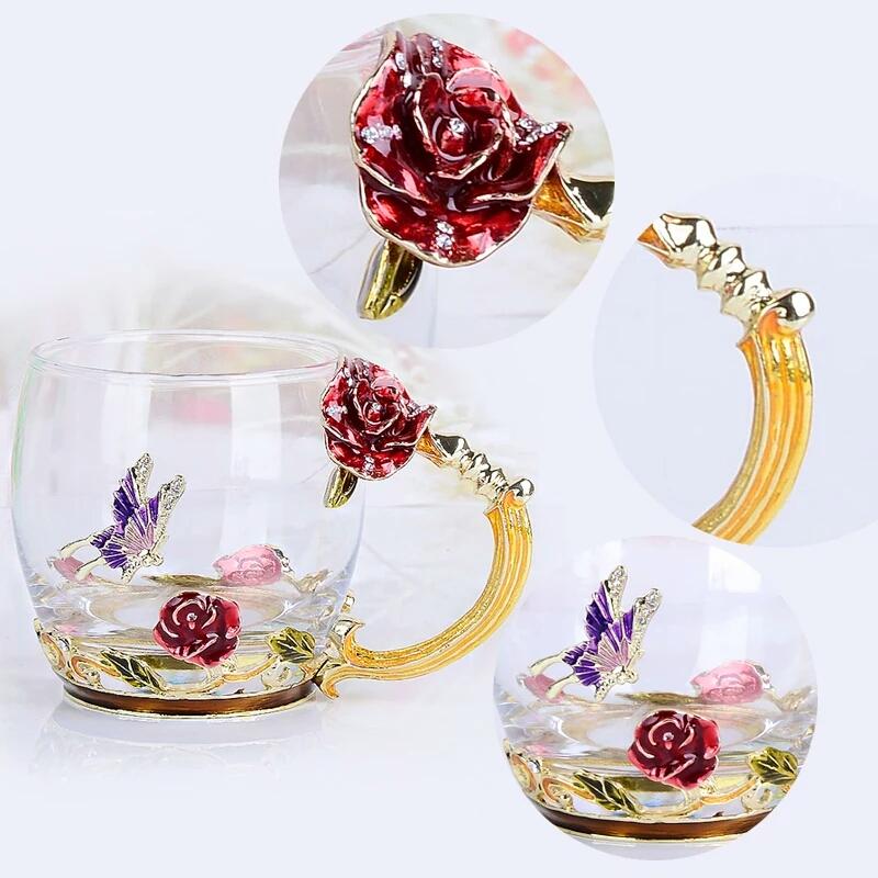 cốc thủy tinh enamel hoa hồng đỏ