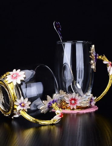 cốc thủy tinh enamel hoa cúc
