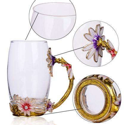 cốc thủy tinh enamel hoa cúc dáng cao