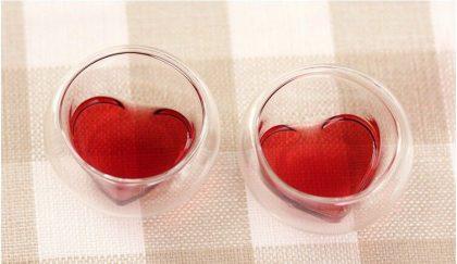 Chén thủy tinh hai lớp lòng tim 50ml