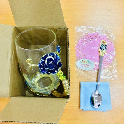 cốc thủy tinh enamel hoa hồng xanh dáng cao