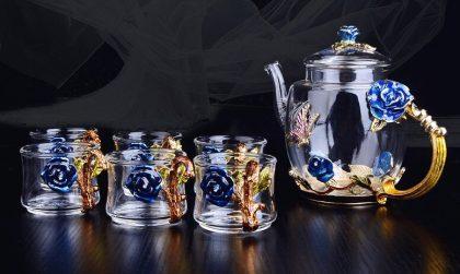 Hộp quà bộ ấm chén thủy tinh enamel HOA HỒNG XANH