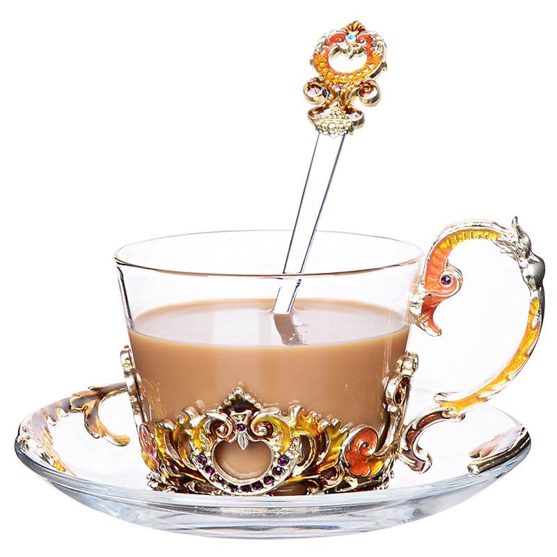 Hộp quà bộ cốc thủy tinh enamel HOÀNG GIA (CAM)