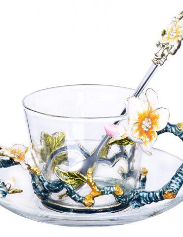 Hộp quà bộ cốc thủy tinh enamel HOA MƠ