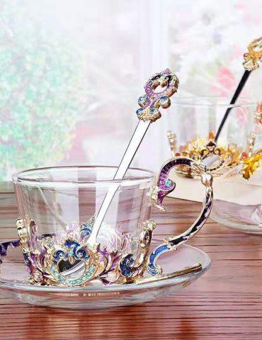 Hộp quà bộ cốc thủy tinh enamel HOÀNG GIA (TÍM)