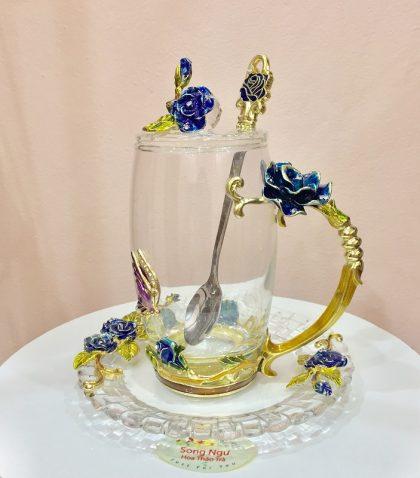 hộp quà bộ cốc thủy tinh enamel HOA HỒNG XANH
