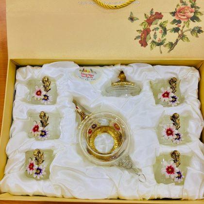 Hộp quà bộ ấm chén thủy tinh enamel HOA CÚC (XANH NHỎ)