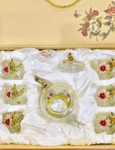 Hộp quà bộ ấm chén thủy tinh enamel HOA CÚC (XANH)