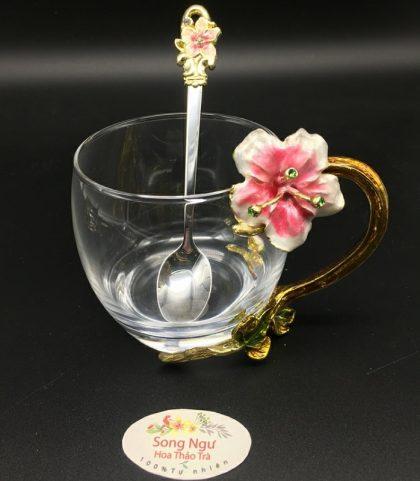cốc thủy tinh enamel hoa đại đỏ dáng thấp