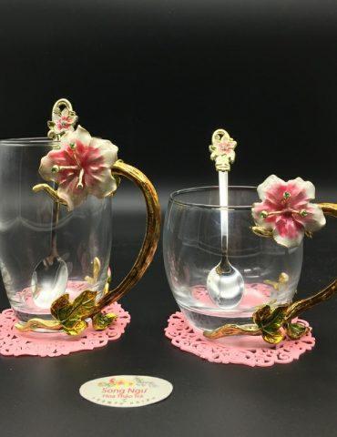 cốc thủy tinh enamel hoa đại đỏ