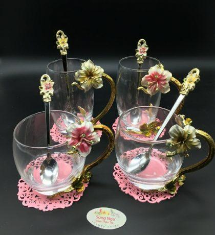 cốc thủy tinh enamel hoa đại