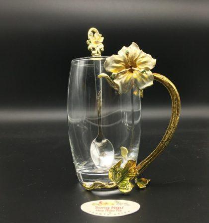 cốc thủy tinh enamel hoa đại trắng dáng cao