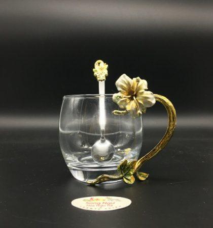 cốc thủy tinh enamel hoa đại trắng dáng thấp