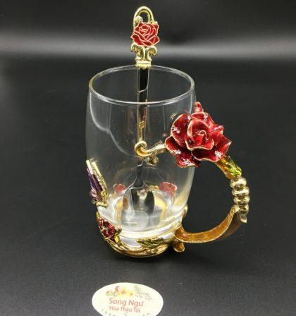 cốc thủy tinh enamel hoa hồng đỏ dáng cao
