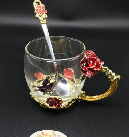 cốc thủy tinh enamel hoa hồng đỏ dáng thấp