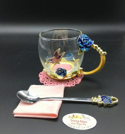 cốc thủy tinh enamel hoa hồng xanh dáng thấp