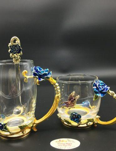 cốc thủy tinh enamel hoa hồng xanh