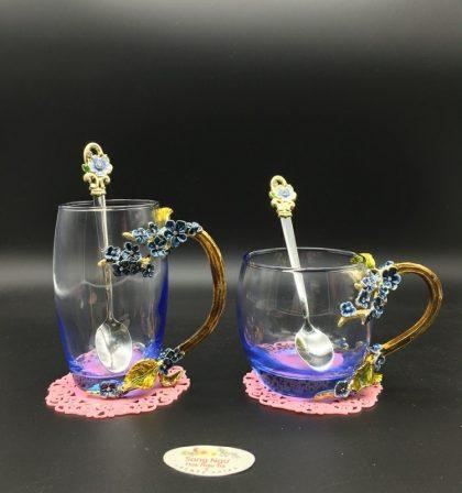 cốc thủy tinh enamel hoa mai xanh
