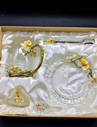 Hộp quà bộ cốc thủy tinh enamel LAN HỒ ĐIỆP VÀNG